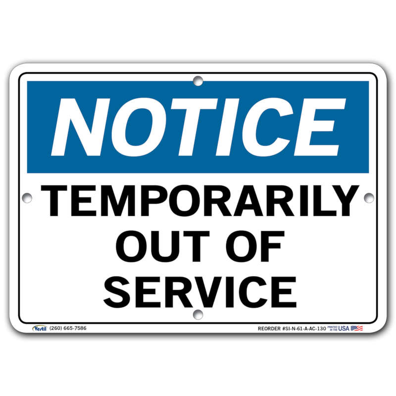 Vestil Notice Temporarily Out of Service