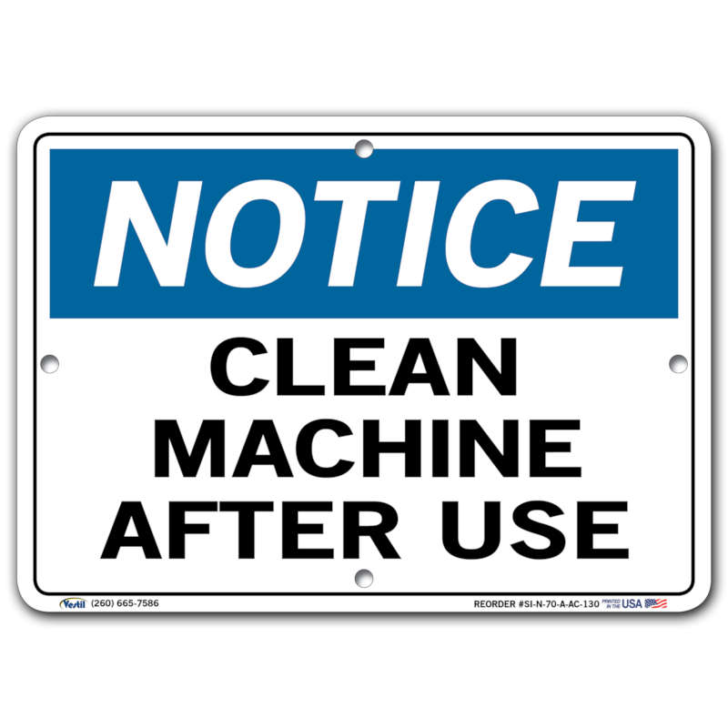 Vestil Notice Clean Machine After Use