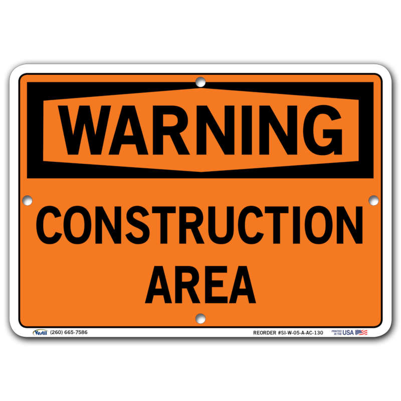 Vestil Warning Construction Area