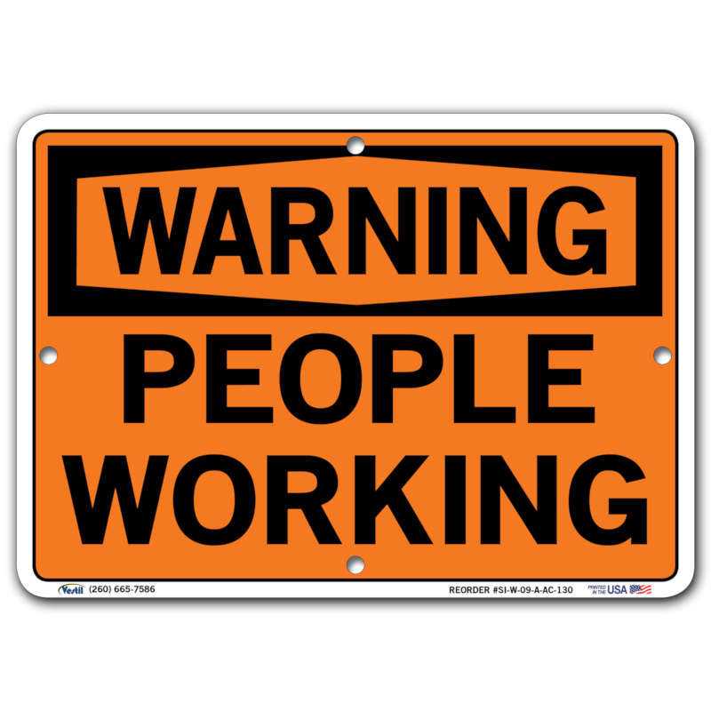 Vestil Warning People Working
