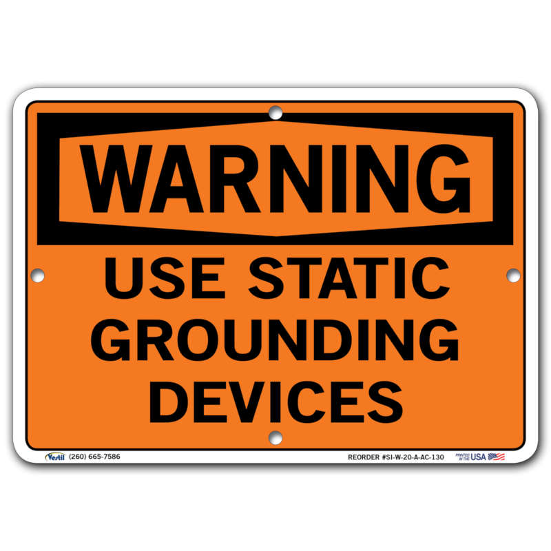 Vestil Warning Use Static Grounding Devices