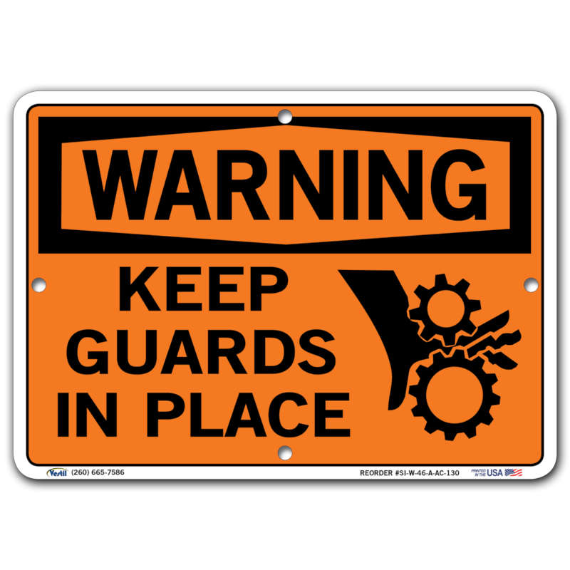 Vestil Warning Keep Guards In Place