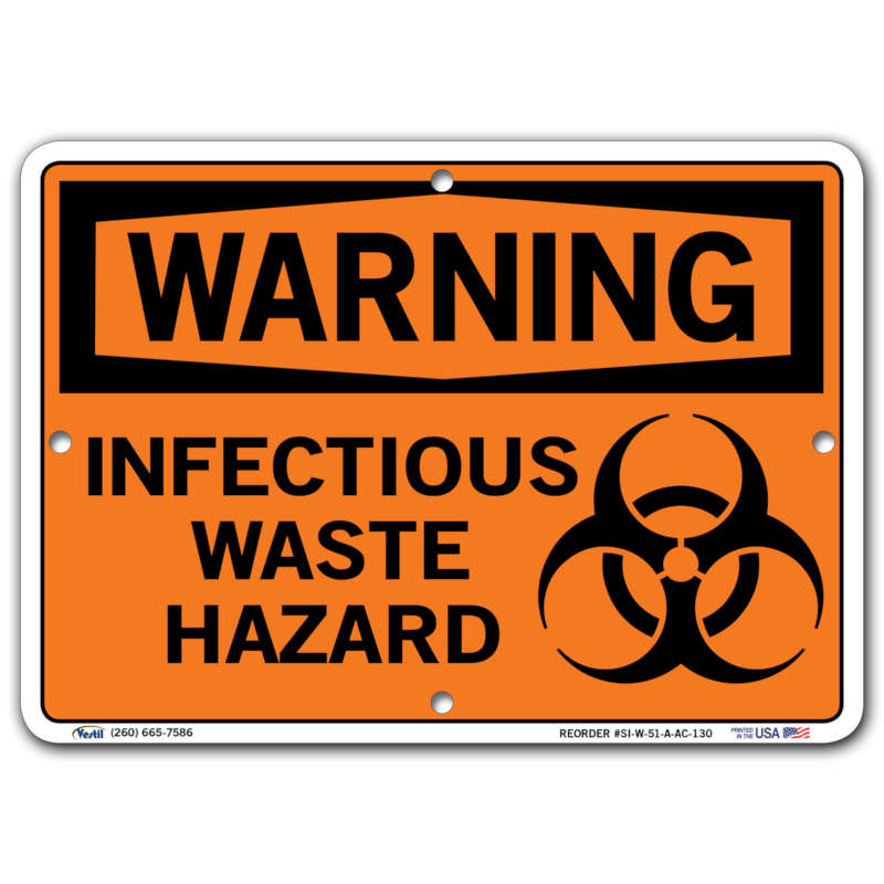 Vestil Warning Infectious Waste Hazard