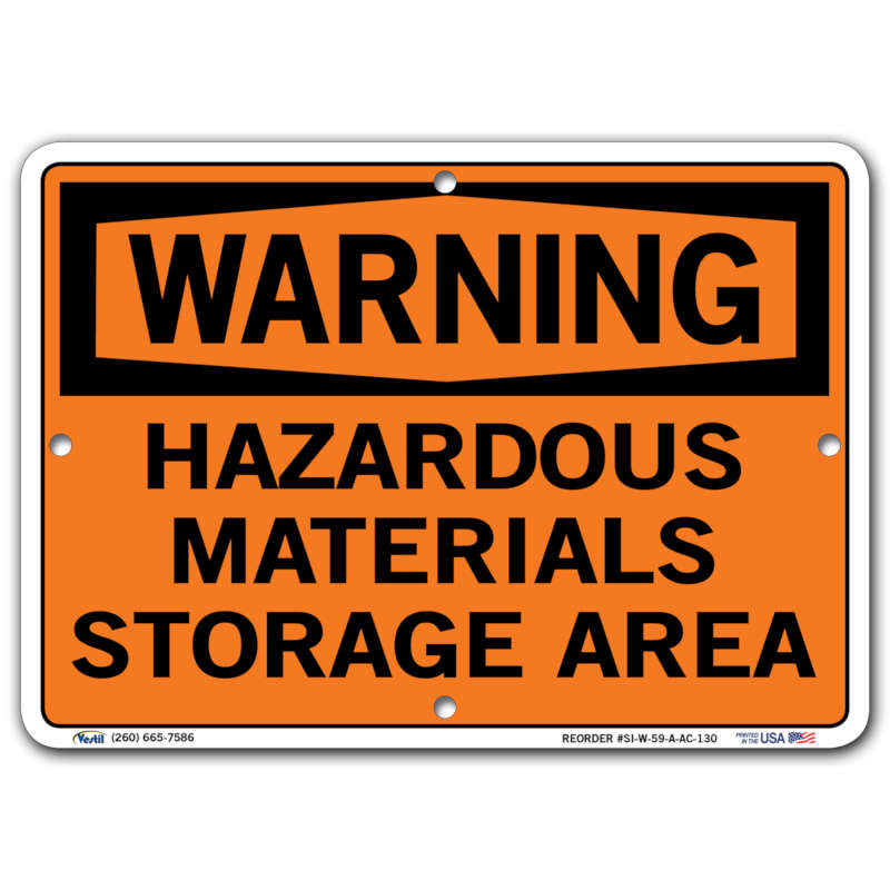 Vestil Warning Hazardous Materials Storage Area