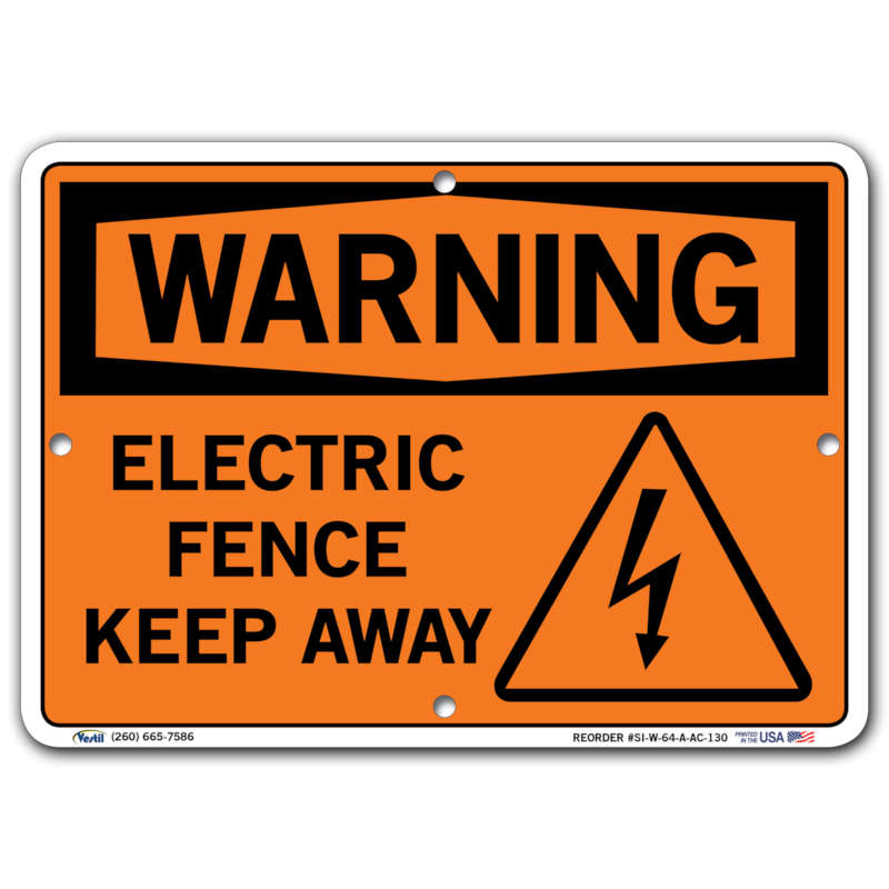 Vestil Warning Electric Fence Keep Away