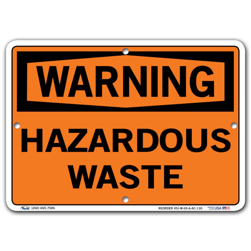 Vestil Warning Hazardous Waste