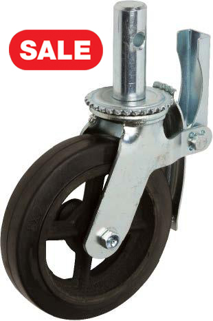 STP8980-33-RCI Scaffold Caster: Rubber on Cast Iron Brake Off