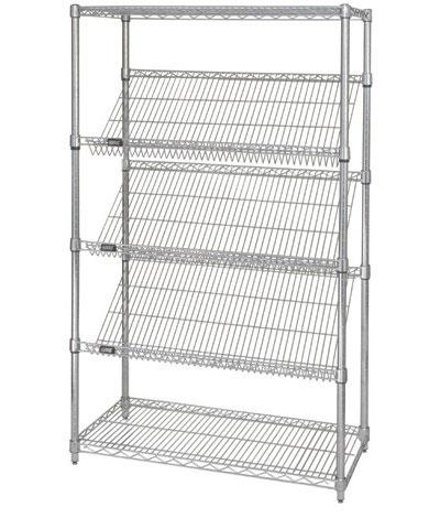 "Quantum 63""H Slanted Shelving Units - Stationary or Mobile"
