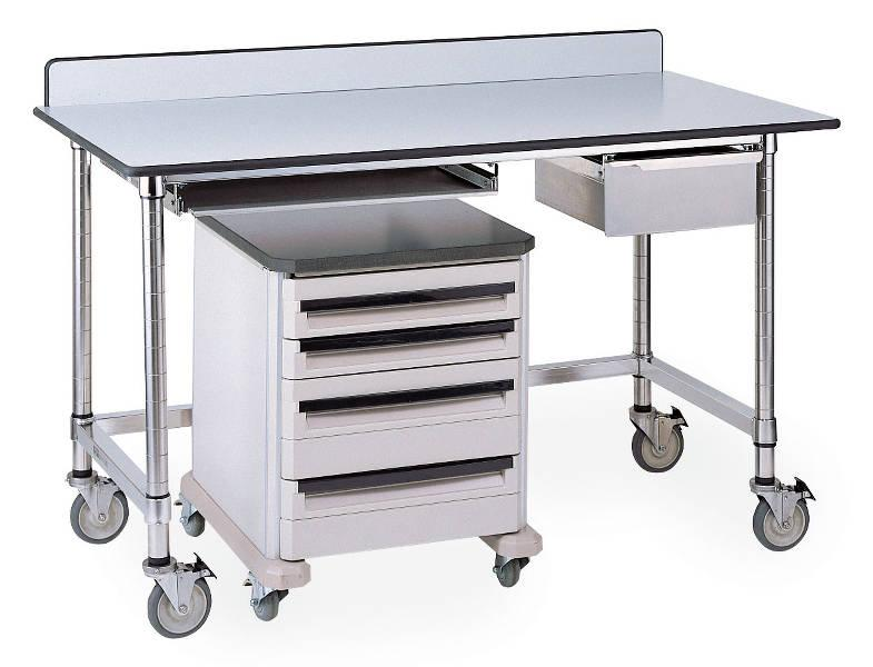 Metro Stainless Tables with Gray Phenolic Top and 3-Sided Frame Model No. LTSM60UPG (shown with accessories, casters, backsplash, and Starsys cart)