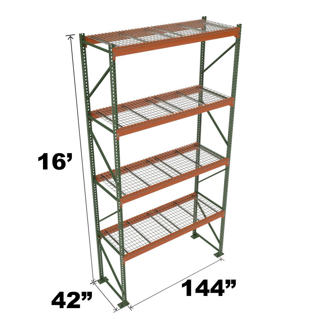Stromberg Teardrop Storage Rack - Starter Unit with Deck - 144 in x 42 in x 16 ft