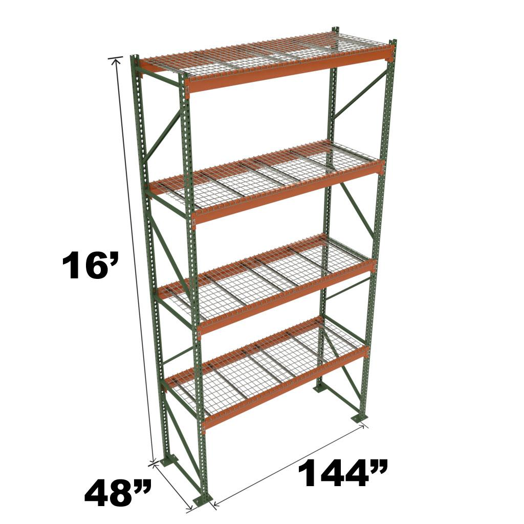 Stromberg Teardrop Storage Rack - Starter Unit with Deck - 144 in x 48 in x 16 ft