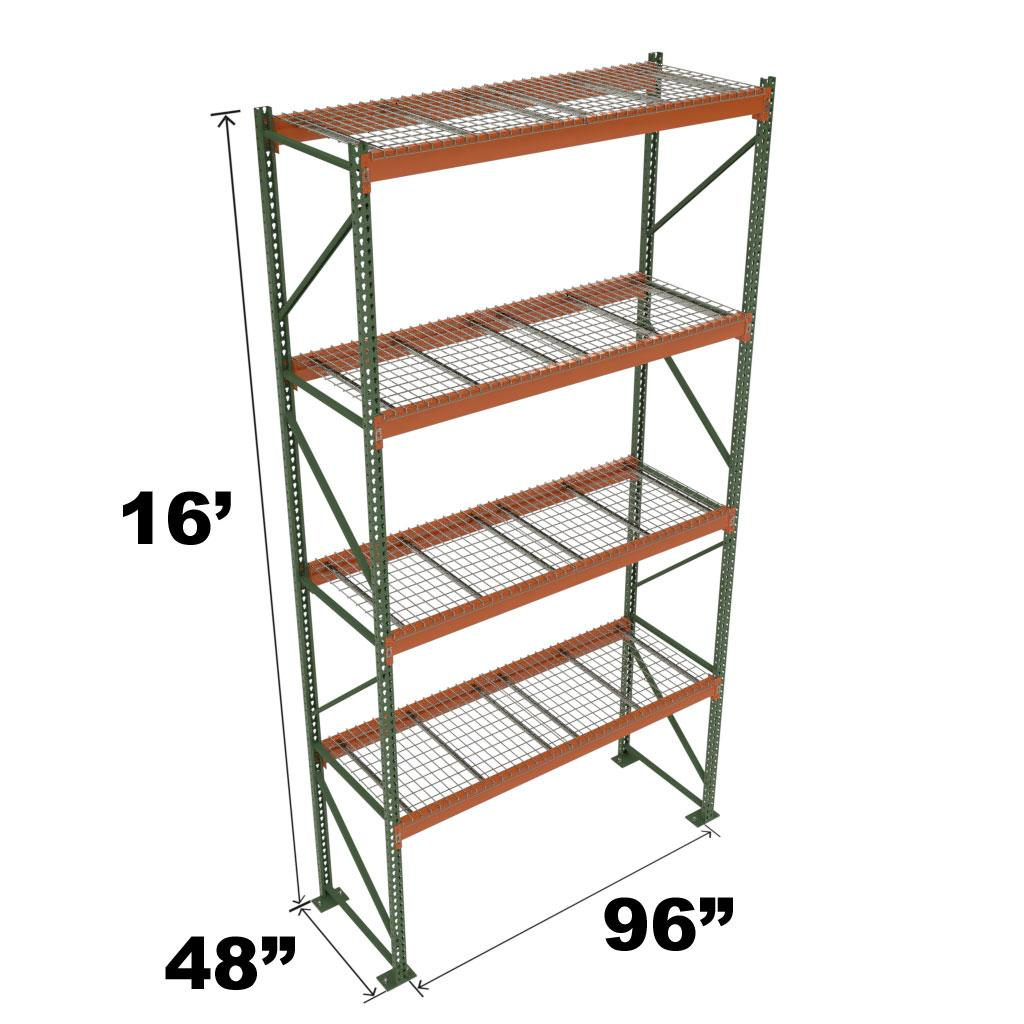 Stromberg Teardrop Storage Rack - Starter Unit with Deck - 96 in x 48 in x 16 ft