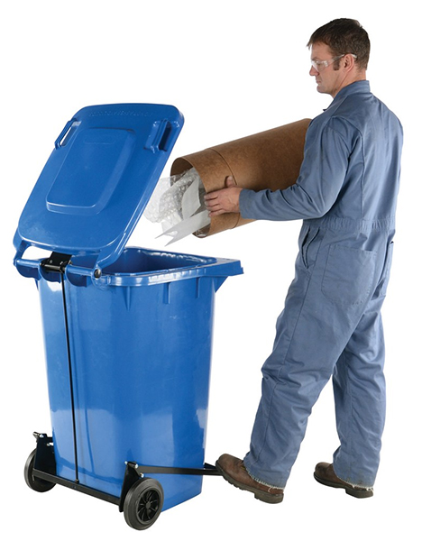 Vestil TH-64-BLU-FL Trash Cans with Foot-Operated Lid Lifter
