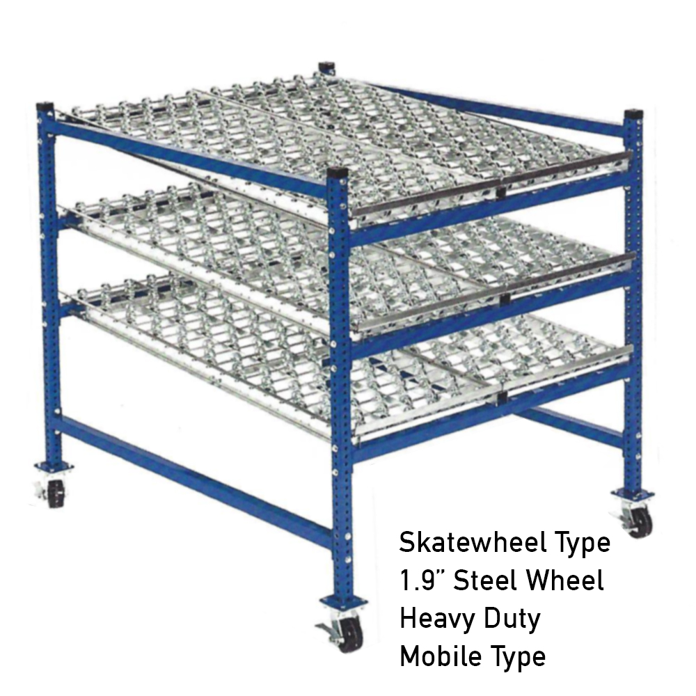 Mobile Heavy Duty Gravity Rack Skatewheel Type