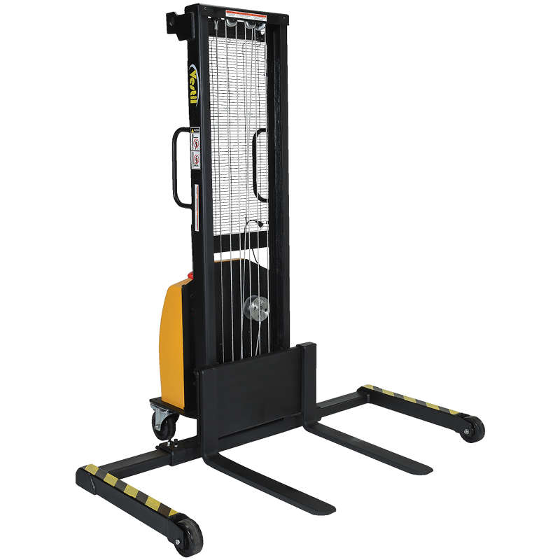 Vestil Electric Winch Stacker - Adjustable Legs and Forks - Model No. VWS-770-AA-DC