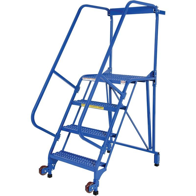 Vestil Tip-N-Roll Mobile Ladder - Straddle Design - Model No. LAD-TRS-60-4-G