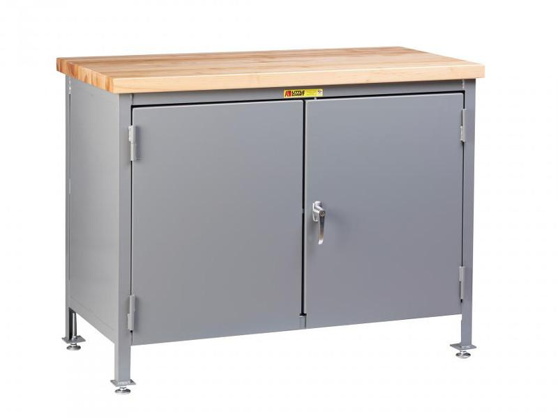 Little Giant Work Center Cabinet with Butcher Block Top Model No. WTC-2D-2436-LL