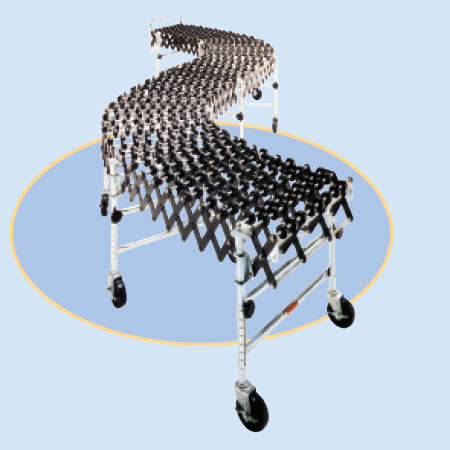 Roll-A-Way Heavy Duty Accordion Wheel Conveyors - 24 Inch Widths - Steel Wheels