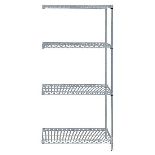 Quantum Genuine Wire Shelving Gray Epoxy Add-On Kit 4 Shelves 54 Inch High