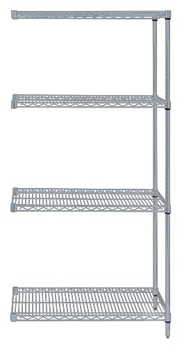 Quantum Genuine Wire Shelving Gray Epoxy Add-On Kit - 4 Shelves 63 Inch High