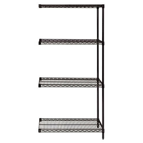 Quantum Genuine Wire Shelving Black Epoxy Add-On Kit - 4 Shelves 74 Inch High