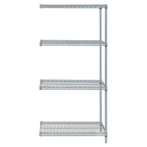 Quantum Genuine Wire Shelving Gray Epoxy Add-On Kit - 4 Shelves 74 Inch High