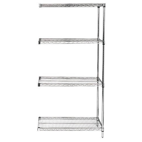 Quantum Genuine Wire Shelving Stainless Steel Add-On Kit - 4 Shelves 74 Inch High