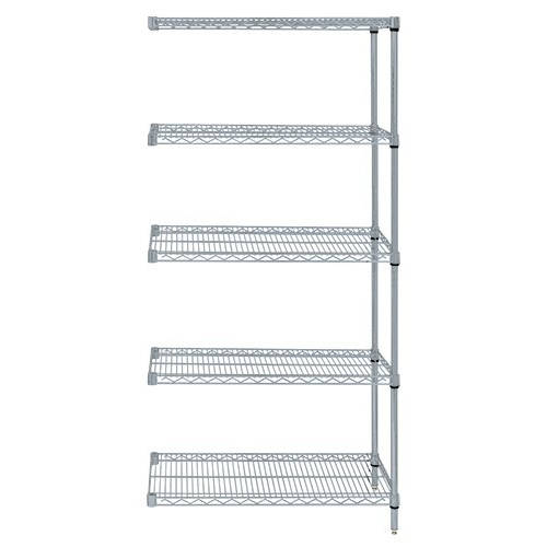 Quantum Genuine Wire Shelving Gray Epoxy Add-On Kit - 5 Shelves 74 Inch High