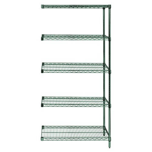 Quantum Genuine Wire Shelving Proform Green Epoxy Add-On Kit - 5 Shelves 74 Inch High