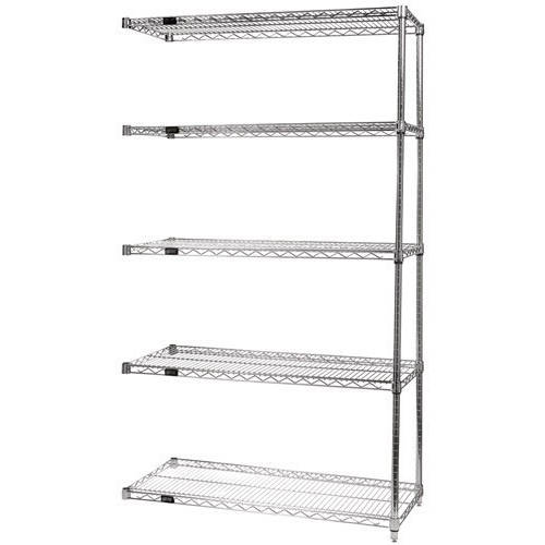 Quantum Genuine Wire Shelving Stainless Steel Add-On Kit - 5 Shelves 74 Inch High