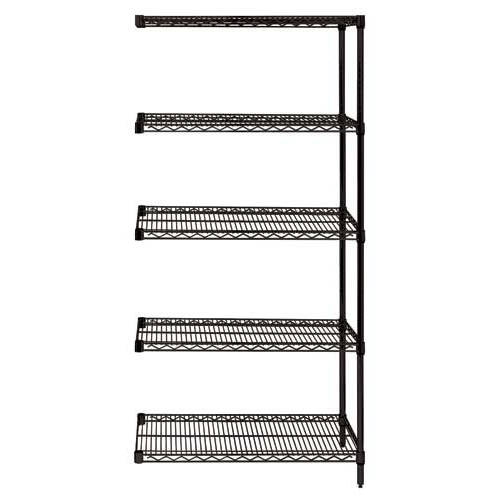 Quantum Genuine Wire Shelving Black Epoxy Add-On Kit - 5 Shelves 86 Inch High