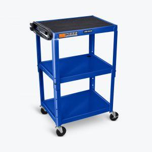 LUXOR AVJ42 Steel Adjustable Height AV Cart - 3 Shelves - in blue
