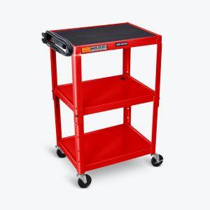 LUXOR AVJ42 Steel Adjustable Height AV Cart - 3 Shelves - in red