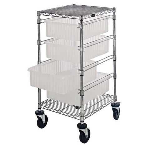 Quantum Bin Cart with Clear-View Dividable Grid Containers BC212434M1CL