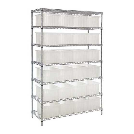 Quantum Chrome Wire Shelving System with Clear-View Dividable Grid Containers - Complete Packages WR7-92080CL