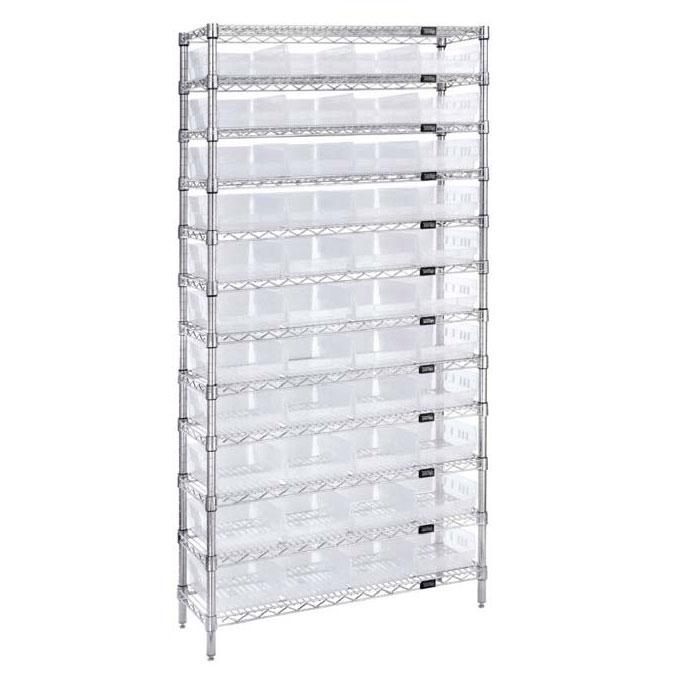 Quantum Clear-View Economy Shelf Bins - Complete Wire Packages WR12-107CL