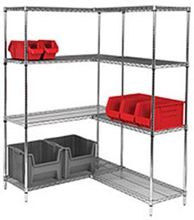Quantum Genuine Wire Shelving Chrome Add-On Kit - 4 Shelves 86 inch High