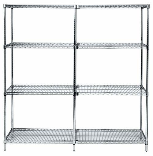 Quantum Genuine Wire Shelving Chrome Starter Kit - 4 Shelves 74 inch High