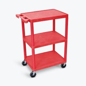 LUXOR HE Series Utility Cart in red