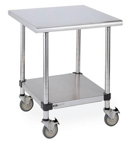 Metro Lab Table with Stainless Island Top and Solid HD Shelf Model No. LTSM30IS (casters ordered separately)