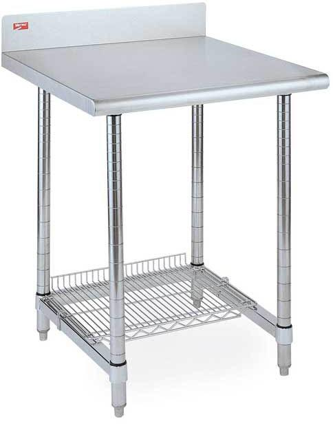 Metro Lab Table with Stainless Backsplash Top and Solid HD Shelf (shown with 3-sided frame instead of solid HD shelf)