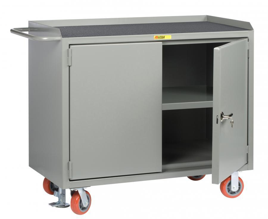 Little Giant Mobile Bench Cabinet with Locking Doors and Non-Slip Vinyl Top, Model MM3-2D-2448-FL