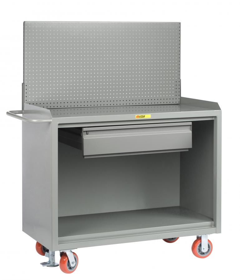Little Giant Mobile Bench Cabinet with Pegboard Panel and Heavy-Duty Drawer, Model MB-2448-HDFL-PB