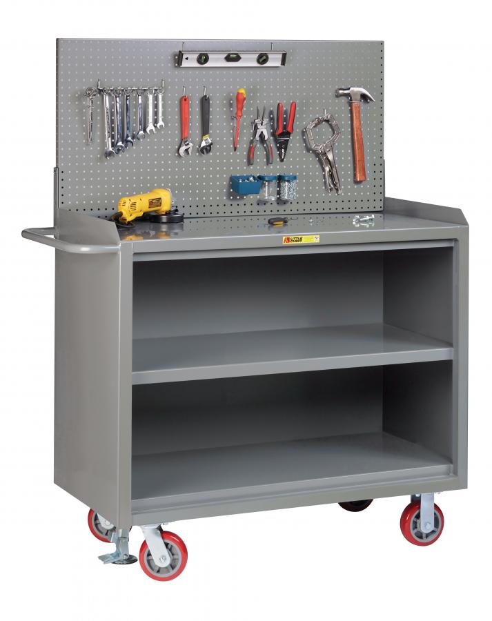 Little Giant Mobile Bench Cabinet with Pegboard Panel and Center Shelf, Model MB3-2448-FL-PB