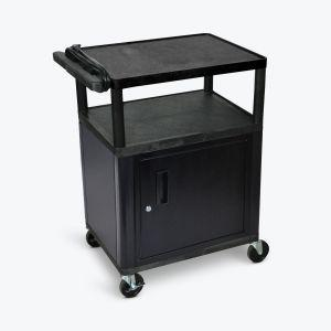 LUXOR AV Cart - 3 Shelves & Electric Outlets