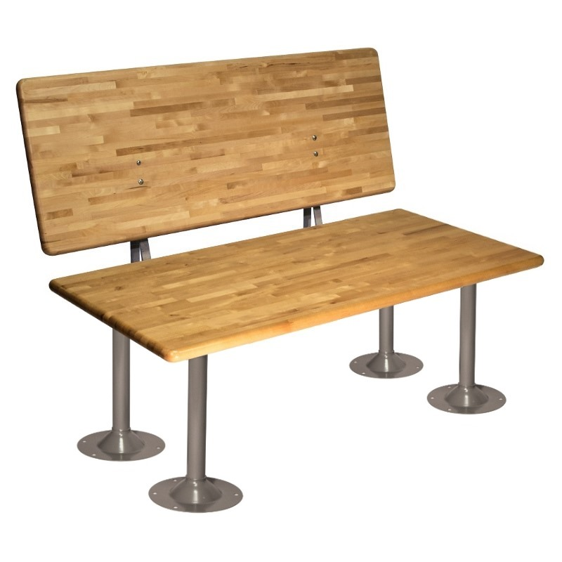 ADA Locker Room Bench with Back and Steel Gray Pedestals
