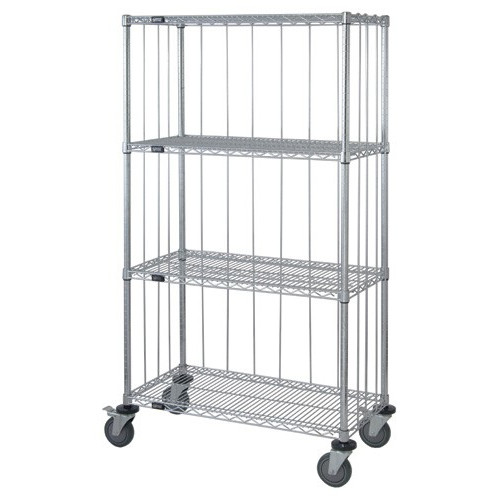 Quantum 3 Sided 4 Shelf Wire Enclosure Cart