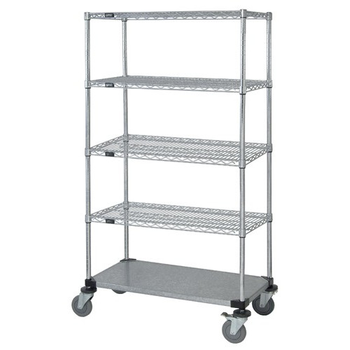 Quantum Stem Caster Mobile Carts 4 Wire 1 Solid Shelves