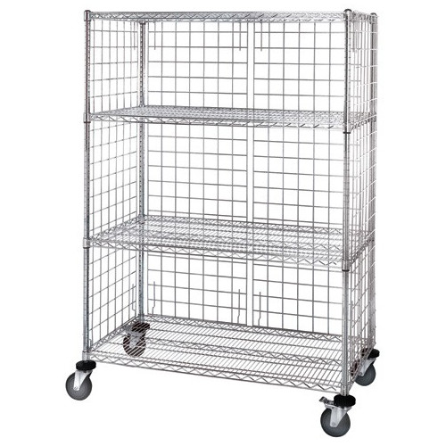 Quantum Chrome 3 Sided 4 Shelf Enclosure Cart with Panels