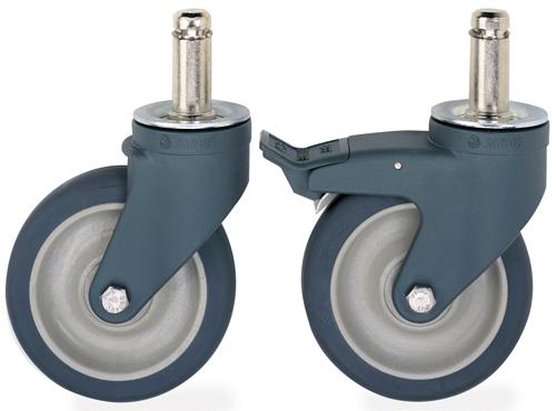 Metro MetroMax Q Polymer Cart-Washable Stem Casters with Poly Wheels 5PCX and 5PCBX.
